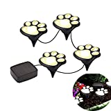 Outdoor Solar Paw Print Lights LED Decor Lawn Gardening Landscape Lighting Dog Bear Puppy Pet Animal Paws Lamp for Yard Pool Parties (Set of 4) For Sale