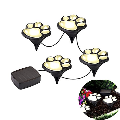 Outdoor Solar Paw Print Lights LED Decor Lawn Gardening Landscape Lighting Dog Bear Puppy Pet Animal Paws Lamp for Yard Pool Parties (Set of 4)