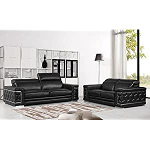 Blackjack Furniture The Usry Collection 2-Piece Genuine Italian Leather Living Room Sofa Set, Black