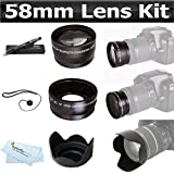58mm Bundle 2x Telephoto HD Zoom Lens + 0.45x Wide Angle Lens + Lens Pen Kit + More For The Canon EOS Rebel T5i, T4i, XTI T2i T3i T3 5D 450D 400D 10D 60D 650D 550D DSLR Camera Which Has Any Of These (18-55mm, 75-300mm, 50mm 1.4 , 55-200) Canon Lenses