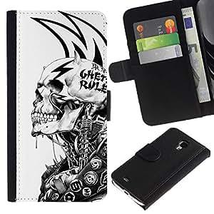 All Phone Most Case / Oferta Especial Cáscara Funda de cuero Monedero Cubierta de proteccion Caso / Wallet Case for Samsung Galaxy S4 Mini i9190 // Grunge Mech Skeleton