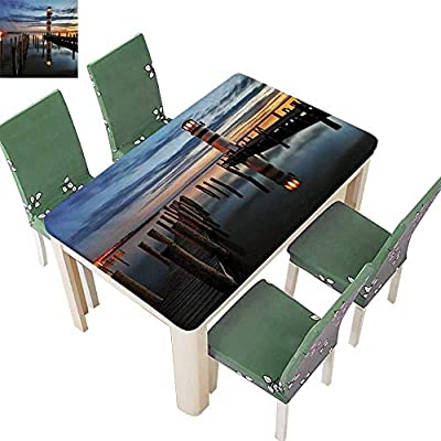 Christmas Tablecloth,Calm Dusk at Bay Lighthouse and Wooden Boardwalk Reflections On Water Clouds Waterproof Gold Table Cloths for Parties,61W X 100L Inches(Elastic Edge)