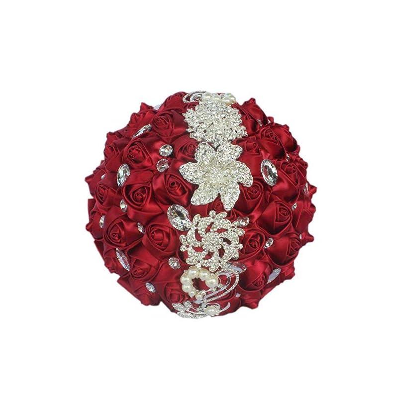 silk flower arrangements flonding wedding bouquets crystal satin rose bride bridal bouquet romantic bridesmaid holding flower for valentine's day confession party church decor (wine red)