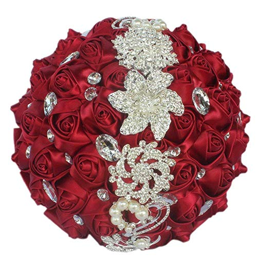 Flonding Wedding Bouquets Crystal Satin Rose Bride Bridal Bouquet Romantic Bridesmaid Holding Flower for Valentine's Day Confession Party Church Decor (Burgundy)