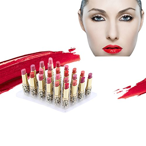Lipsticks Set, 12 Colors 24pcs Leopard Moisturizing Matte Lipstick Waterproof Long Lasting