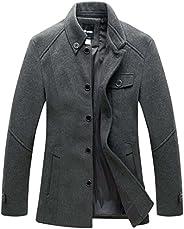 Wantdo Men's Stand Collar Pea Coat Single Breasted Outwear Peacoat Ja