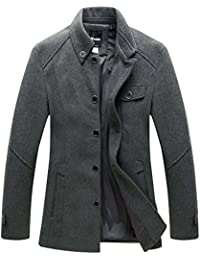 Men's Peacoat Single Breasted Insulated Outwear Jacket
