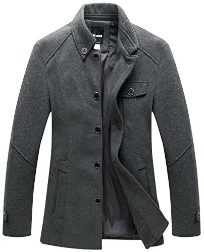 Wantdo Men's Stand Collar Peacoat Single Breasted Outwear Jacket Grey - Single Fur Breasted Coat