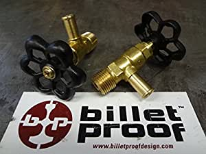 "Brass Motorcycle Hi Flow Faucet Fuel Petcock Needle Valve Gas Shut Off Valve - 3/8"" NPT Thread - 3/8"" ID Fuel Line - Powder Coated Black Valve Handle - Harley Chopper Bobber Cafe Racer"