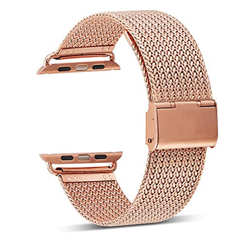 Mesh Buckle Gold (Tuscom Stainless Steel Buckle Mesh Belt Wristbands Compatible for Apple Watch Series 3/2/1,38mm,Contracted Design Style (Rose Gold))