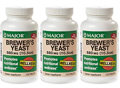 MAJOR Brewers Yeast 680MG(10.5GR) TABS Brewers Yeast (Saccharomyces CEREVISIAE)-680 MG Brown 250 Tablets UPC 309046402701 (Pack 3)