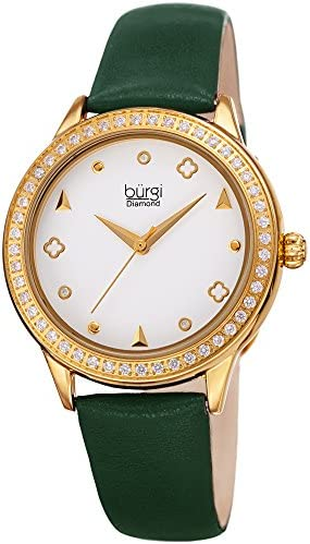 Burgi Crystal Filled Bezel Women s Watch – Unique Shapes and Diamond Hour Markers – Floating Enamel Dial – Round Analog Quartz – BUR221