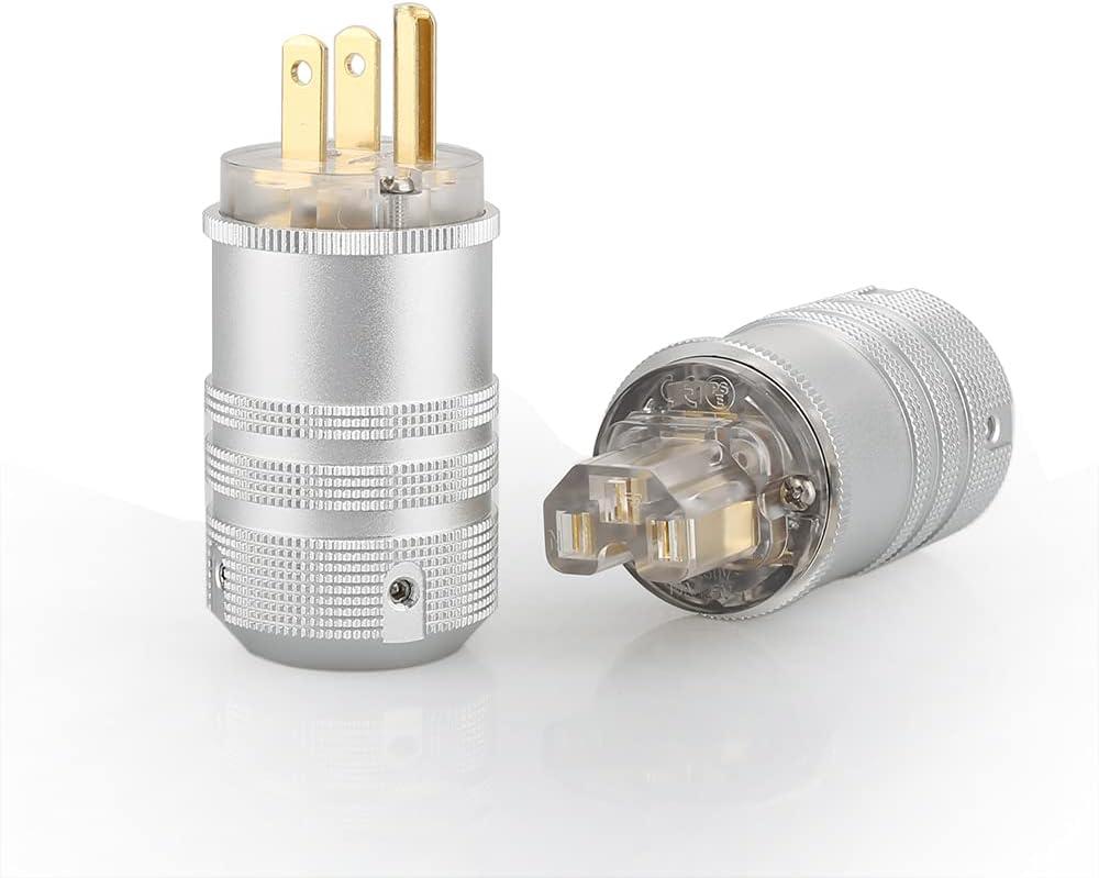 1 Pair 15A 250V Aluminium Power Connector US Power Plug & IEC Connector Set AC Power for HiFi DIY(Gold Plated)