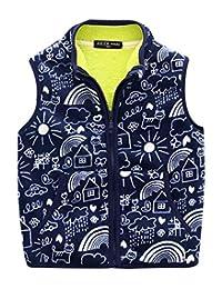Happy Cherry Kids Winter Fleece Vest Cartoon Stand Collar Zipper Up Waistcoat