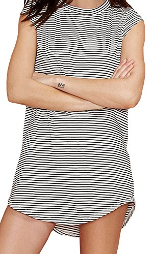 Darceil Women's White Black Stripe Longline Cap Sleeve T-Shirt Dress (L, Stripe)