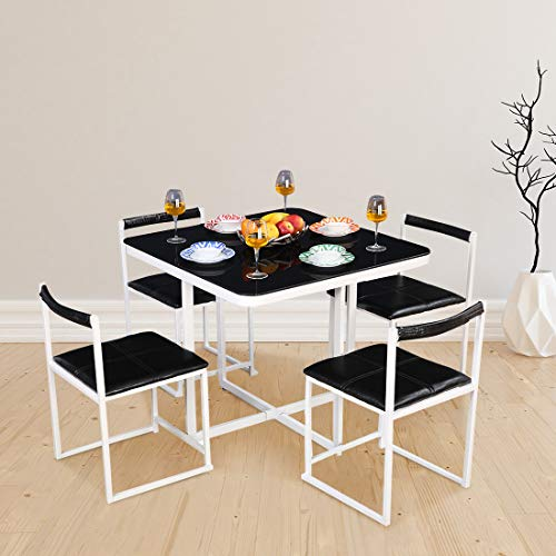 HomeTown Kube Mild Steel + Glass Four Seater Dining Set in Black  amp; White Colour