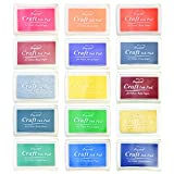 Yolyoo 15pcs Stamp Pads Colourful Craft Ink Pad