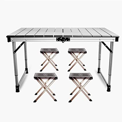 Portable Outdoor Bbq Camping Diy Table Picnic Aluminum Alloy Folding Table Portable Lightweight Rain-proof Mini Rectangle Table Furniture Outdoor Furniture