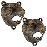 Design Toscano Grizzly Bear of the Woods Cast Iron Bottle Opener, 2-Pack