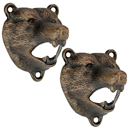 (Design Toscano Grizzly Bear of the Woods Wall Mount Bottle Opener, 3 Inch, Set of Two, Cast Iron, Aged Gold)