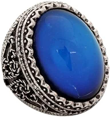 Mojo Classic Abstract Pattern Antique Sterling Silver Plating Oval Stone Color Change Mood Ring MJ-RS029