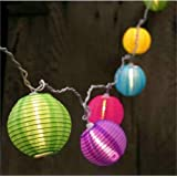 10 Multi Color Chinese Nylon Lantern String Lights Sets. 10.86 Feet Mini Oriental Lanterns Indoor / Outdoor. Plug-in Connectable Expandable up to 162 Feet / 150 Lights Incandescent