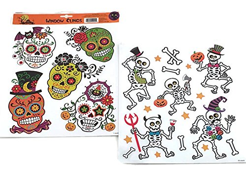 Custom Bundle Sugar Skull and Skeleton Halloween Window Clings - 2 Sheets