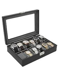 Tech Swiss TS2890BLK 12 Watch Box Storage Case Black Leather Glass Top