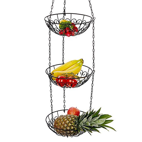 OKOKMALL US--3 Tier Basket Fruit Vegetable Holder Bowl Round Hanging Storage Kitchen Organize by OKOKMALL US