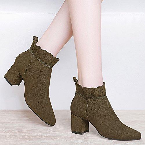 green stivali stivali e martin stivali vetro Olive sono smerigliato con col spessi single alto vintage tacco degli stivali scarpe GTVERNH HwFxdapqa