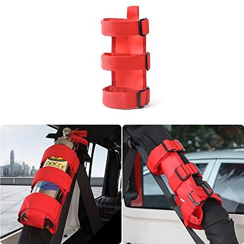 JeCar Adjustable Interior Roll Bar Fire Extinguisher Holder For Jeep Wrangler(Red)
