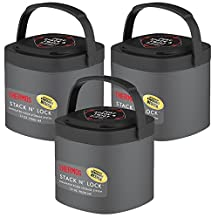 3 Thermos Stack N Lock Stackable Containers Insulated Food Storage 24oz Gray