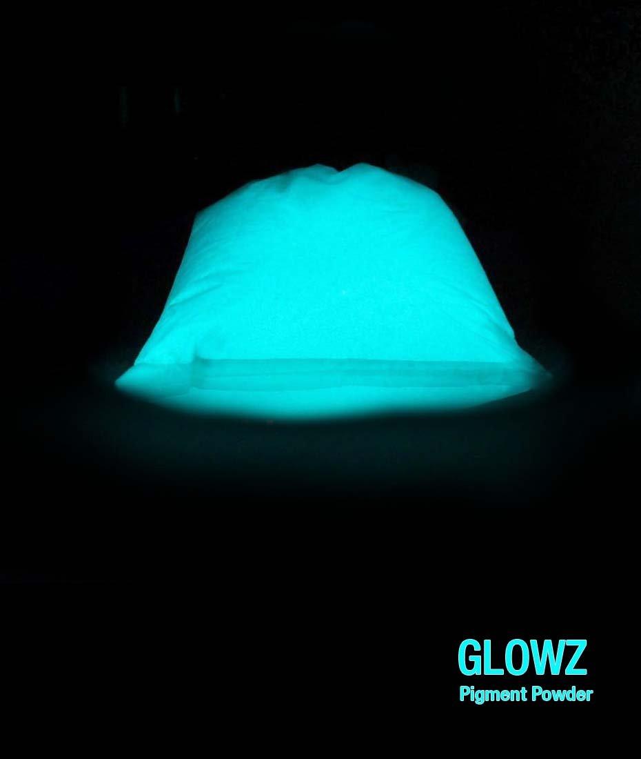 Glowz Glow in the Dark Pigment Powder, 2 oz. Aqua Blue