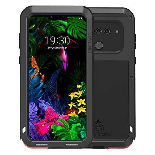 Simicoo LG G8 ThinQ Aluminum Alloy Metal Bumper Silicone Case Hybrid Military Shockproof Heavy Duty Armor Defender Tough Built-in Gorilla Glass Cover for LG G8 ThinQ (Black, LG G8 ThinQ)