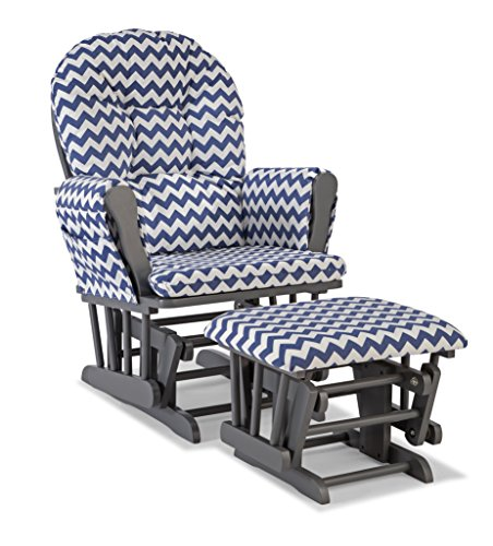 Frog 3 Piece Crib - Storkcraft Custom Hoop Glider and Ottoman, Gray/Navy Chevron