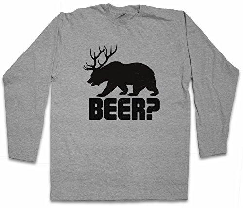 Beer  Long Sleeve T Shirt   Deer Bear Fun Hunt Antlers Hunter Alcohol Drinking Sport Barstool