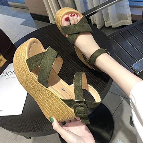 Femmes Mode Hauts Et Pour Bout La Sandales Chaussures Talon À Talons Compensé Ouvert Pointu Plateforme Vert Ouverte XtCqnwB