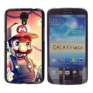 ROKK CASES / Samsung Galaxy Mega 6.3 I9200 SGH-i527 / FUNNY - MARIO HIPSTER / Delgado Negro Plástico caso cubierta Shell Armor Funda Case Cover