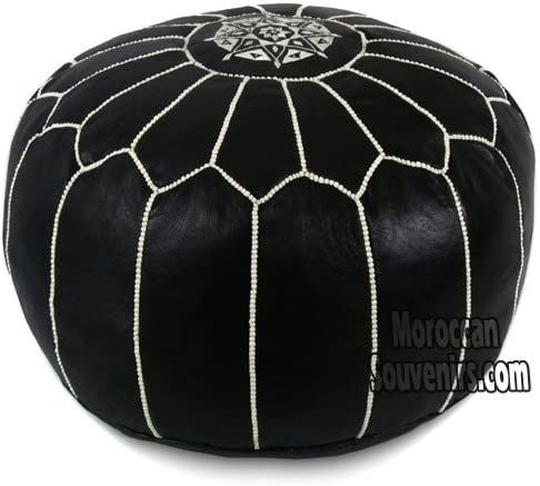 Stuffed Stuffed Moroccan Pouf, Pouffe, Ottoman, Poof, Color Black with white stitching
