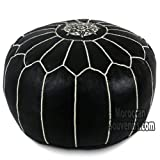 Stuffed Stuffed Moroccan Pouf, Pouffe, Ottoman, Poof, Color : Black with white stitching