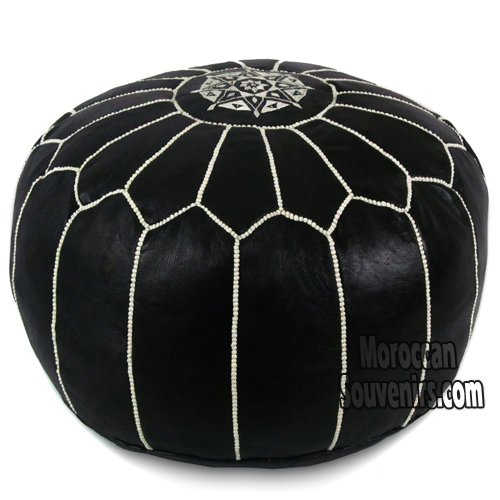 Stuffed Stuffed Moroccan Pouf, Pouffe, Ottoman, Poof, Color : Black with white stitching by IKRAM DESIGN