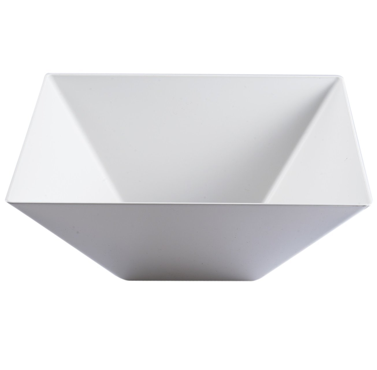 Elegant Disposable Plastic Serving Bowl - Heavyweight Fancy Square White 128oz Serving Bowls – Reusable Appetizer Bowl Party Set For Wedding, Christmas, Thanksgiving, Birthday & Other Occasions