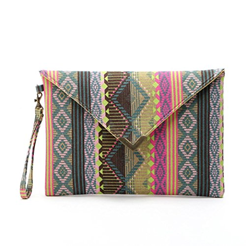 (Wobuoke Women Bohemian Vintage Slim Envelope Clutch Handbag Purse Tote Ladies Bag)