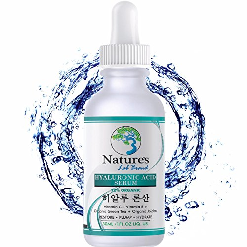 Hyaluronic Acid Serum for Face + Vitamin C Vitamin E - Advanced Korean Beauty formula Anti Aging Anti Wrinkle for hydration Natural Organic Vegan Paraben free Best Natures Lab Brand cruelty free