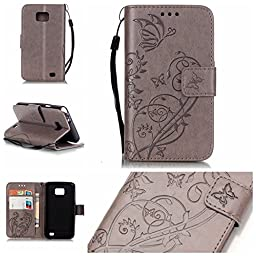 Samsung Galaxy S2 Case with Free Screen Protector,Funyye Leather Wallet Strap Cover with Card Slots Embossed Design Full Protection Stand Case Cover for Samsung Galaxy S2 - Gray