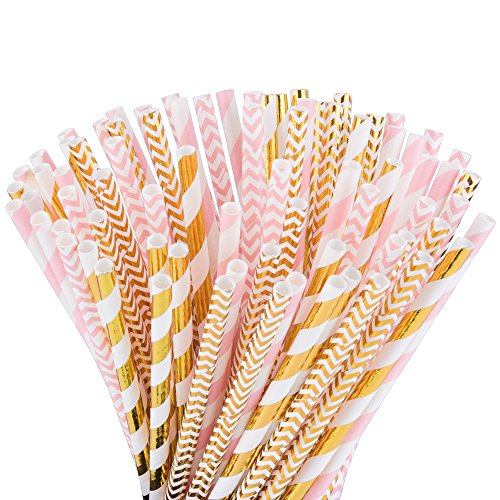 Paper Straws, Pack of 100- Different Pink Straws/Gold Straws for Party Supplies, Paper Drinking Straws for Wedding,Birthday,Christmas