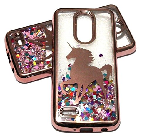 for LG Aristo 2 (X210), K8 (2018), Tribute Dynasty (SP200) Case - Rose Gold Unicorn Pink Glitter Rainbow Hearts Liquid Waterfall Skin Case Cover (Lg Tribute Pink Phone Case)