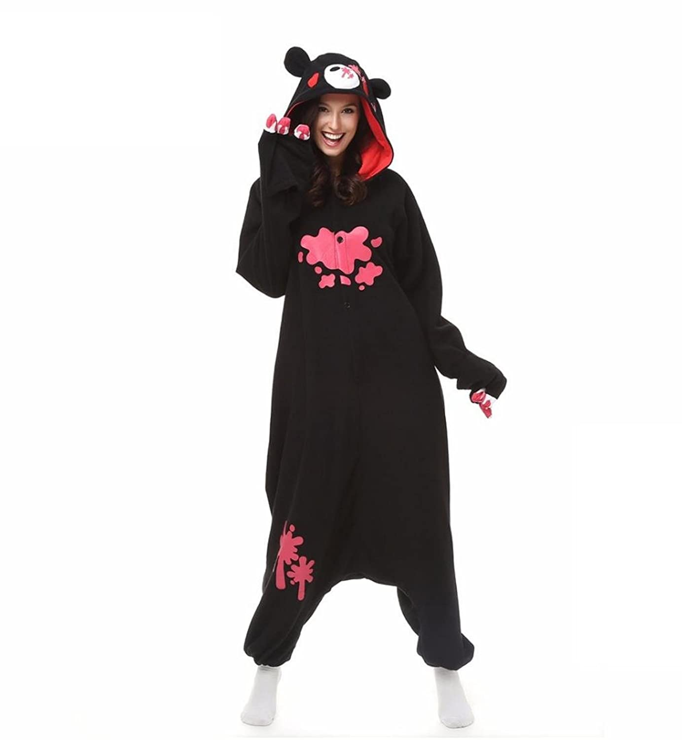 TuTu@ Kigurumi Pajamas Cosplay/ Bear / Raccoon Leotard/Onesie Halloween Animal Sleepwear Black Patchwork Polar Fleece Kigurumi Unisex