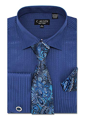 C. Allen Men's Solid Striped Pattern Regular Fit Dress Shirts with Tie Hanky Cufflinks Combo 15.5 Neck 34/35 Navy