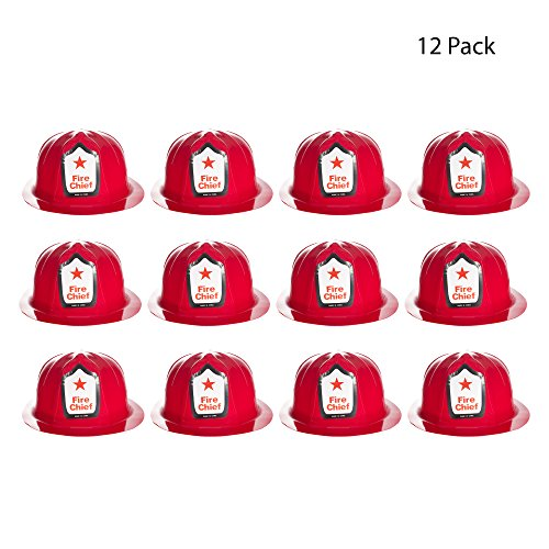 Red Plastic Fire Helmets - 12 Pack]()